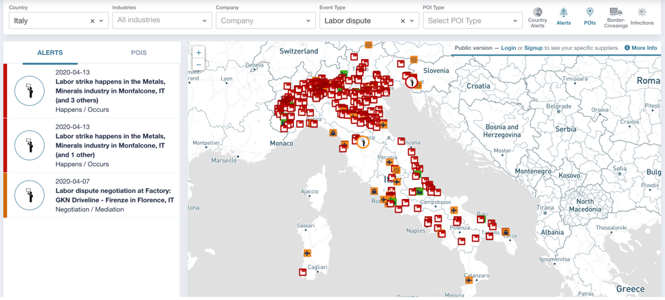 dashboard which visualizes labor disputes, it highlights many areas as red